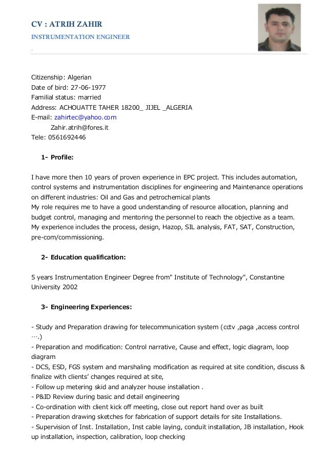 instrumentation engineer resume with 1 year experience