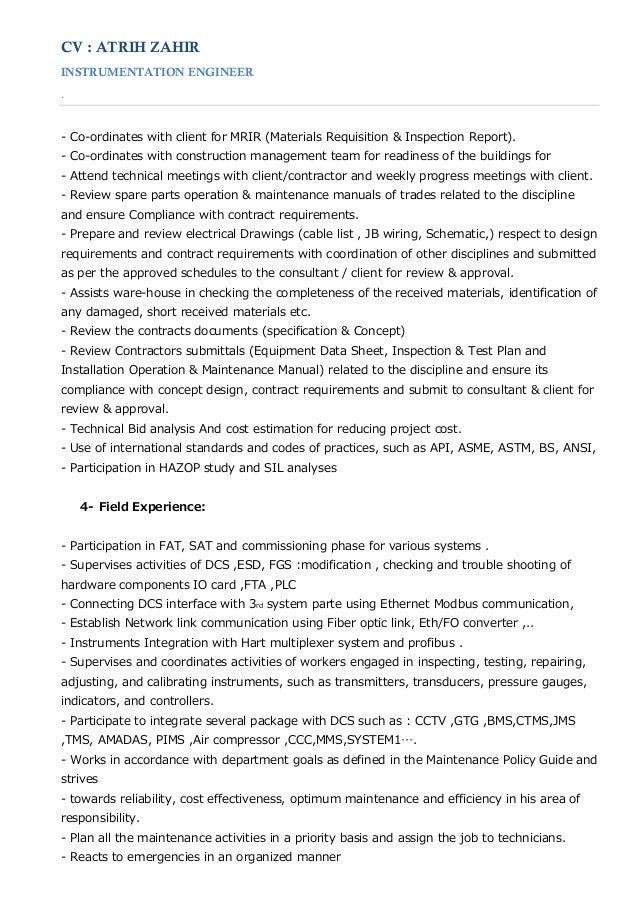 Instrumentation Detail Engineer Resume
