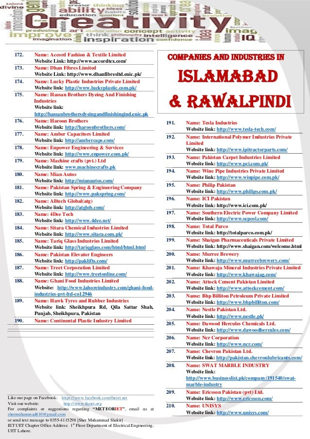 List of Industries and Companies in Pakistan, IET-NEWS-JOURNAL-4th-Ed…