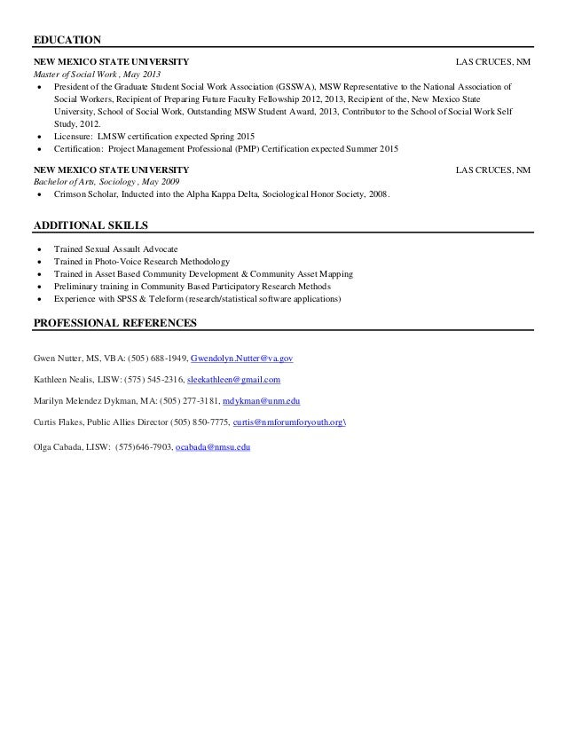 Free Sample Of Social Work Resume  Social Work Resumes