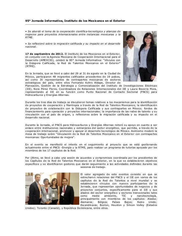 95 jornada del instituto de los mexicanos en el exterior - Instituto de los mexicanos en el exterior ...