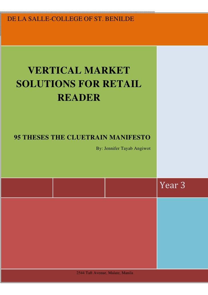 DE LA SALLE-COLLEGE OF ST. BENILDE         VERTICAL MARKET   SOLUTIONS FOR RETAIL         READER    95 THESES THE CLUETRAI...