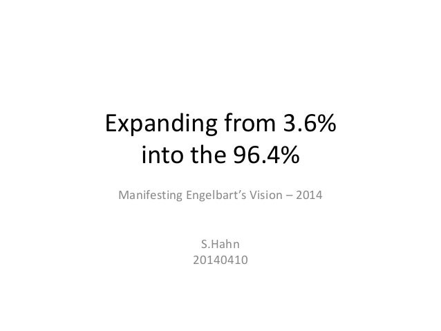 Expanding from 3.6% into the 96.4% Manifesting Engelbart's Vision – 2014 S.Hahn 20140410