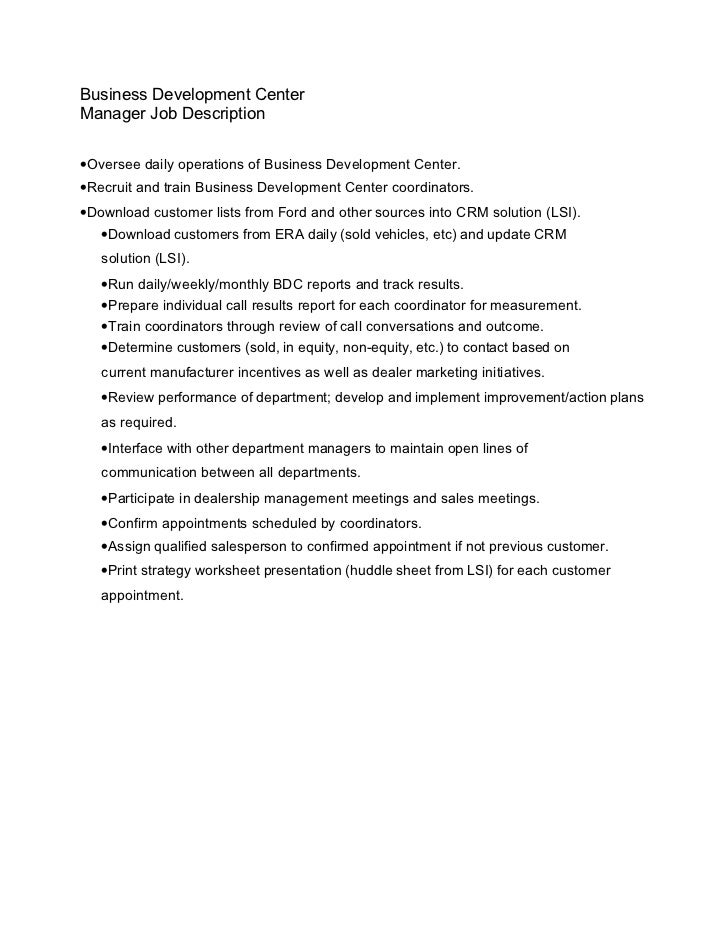 18. Business Development Center Manager Job Description ...  Call Center Manager Job Description