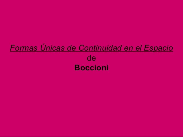 Formas Únicas de Continuidad en el Espacio de Boccioni