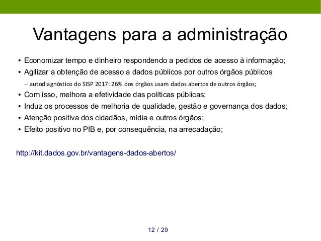 Vantagens para a administração ● Economizar tempo e dinheiro respondendo a pedidos de acesso à informação; ● Agilizar a ob...