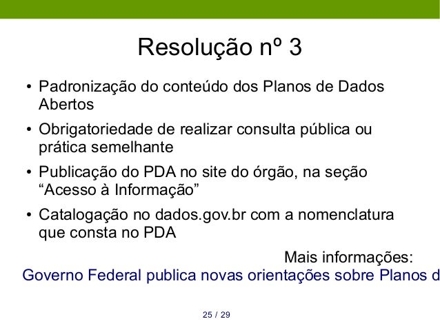 Resolução nº 3 ● Padronização do conteúdo dos Planos de Dados Abertos ● Obrigatoriedade de realizar consulta pública ou pr...