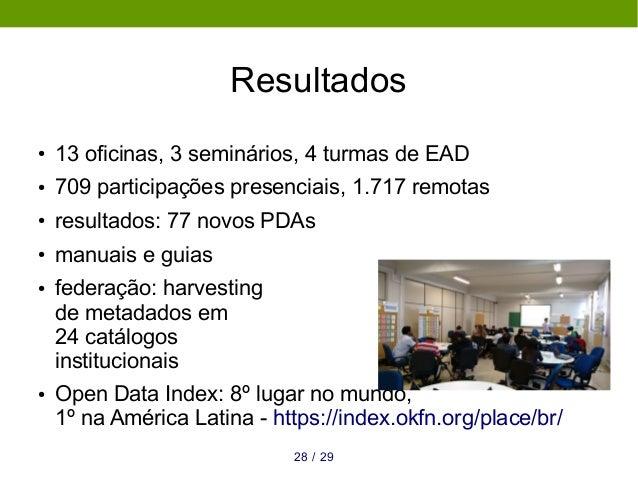 Resultados ● 13 oficinas, 3 seminários, 4 turmas de EAD ● 709 participações presenciais, 1.717 remotas ● resultados: 77 no...