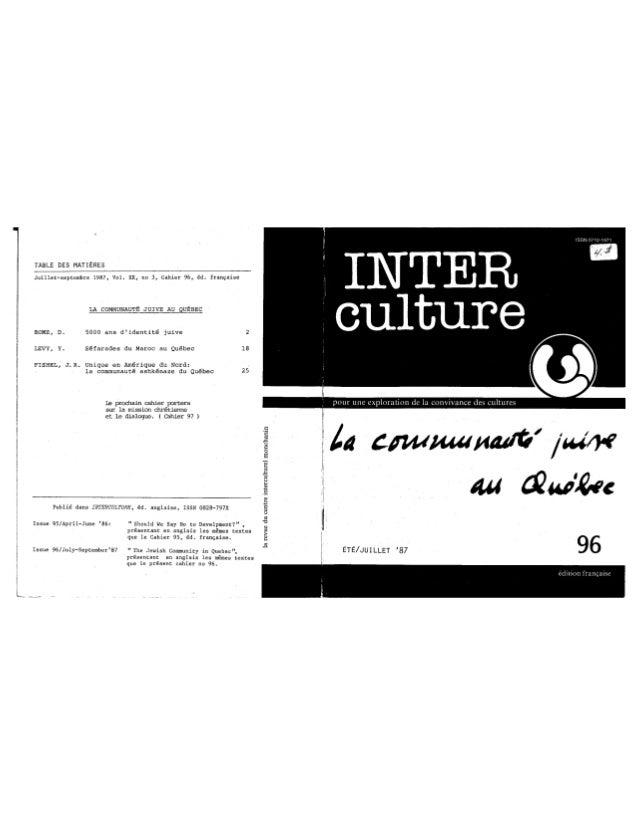 96 la communauté juive au québec. d. rome, y. levy, j. r. fishel. (document à télécharger en format pdf, 1,5 mb).