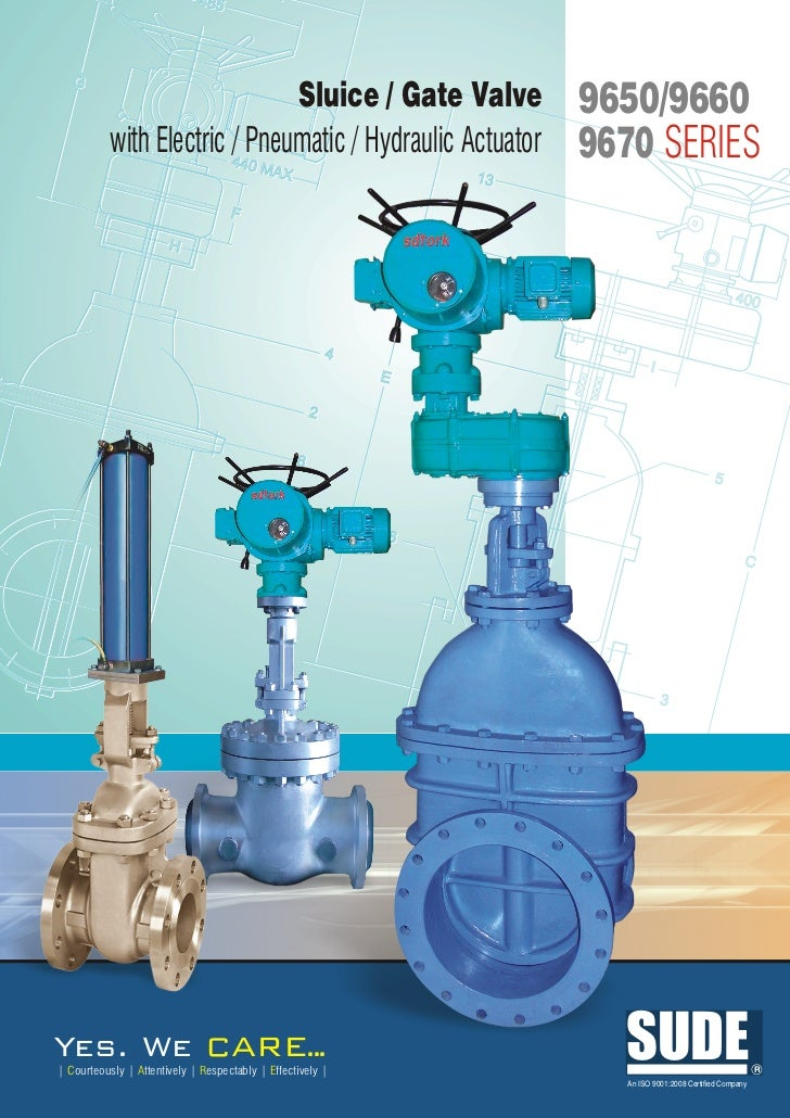 9600 9670 9650 sluice gate valve with elec pneu hydraulic