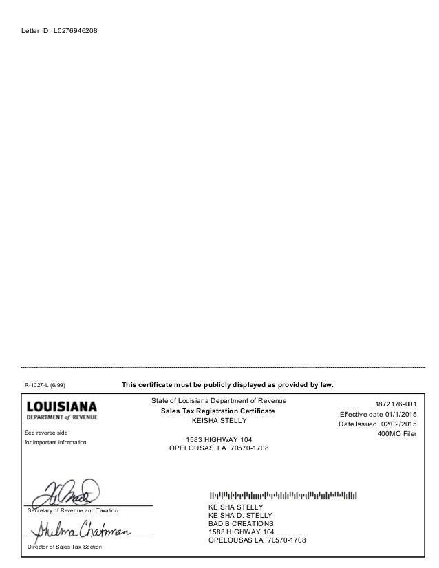 Sales Tax Certificate