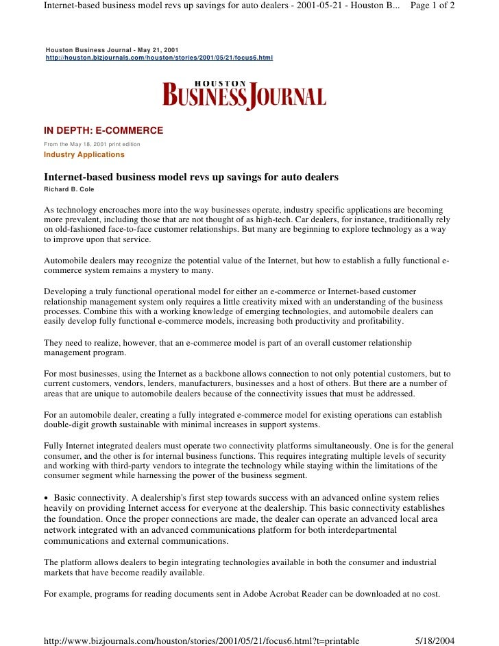 Internet-based business model revs up savings for auto dealers - 2001-05-21 - Houston B...             Page 1 of 2Houston ...