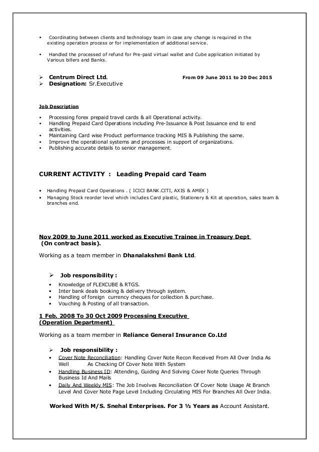 Forex operations job description