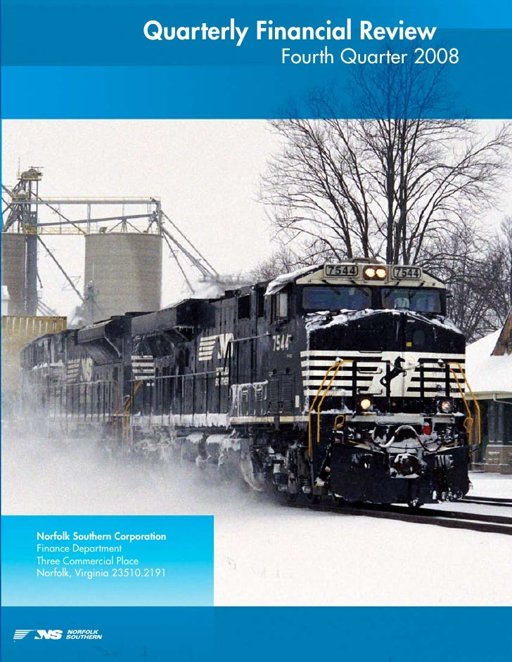 Quarterly Financial Review                                   Fourth Quarter 2008     Norfolk Southern Corporation Finance ...