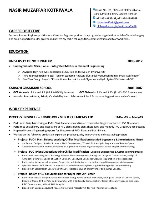 nasir muzaffar kotriwala career objective secure a process engineer position or a chemical engineer position in