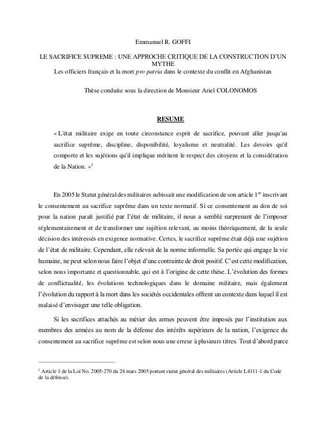 Emmanuel R. GOFFI LE SACRIFICE SUPREME : UNE APPROCHE CRITIQUE DE LA CONSTRUCTION D'UN MYTHE Les officiers français et la ...