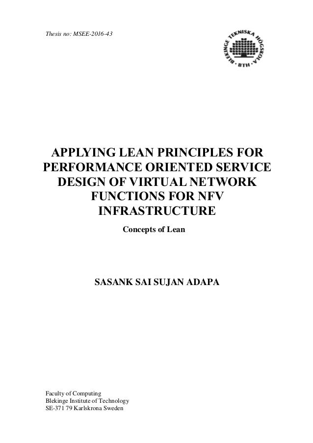 Thesis no: MSEE-2016-43 Faculty of Computing Blekinge Institute of Technology SE-371 79 Karlskrona Sweden APPLYING LEAN PR...
