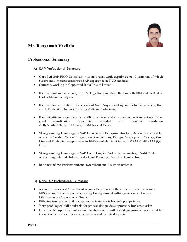mr ranganath vavilala professional summary a sap professional summary certified sap fico consultant - Sap Fico Resume Sample