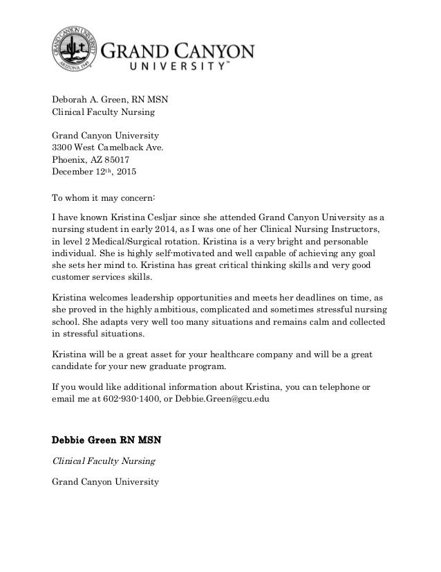 nursing letter of recommendation