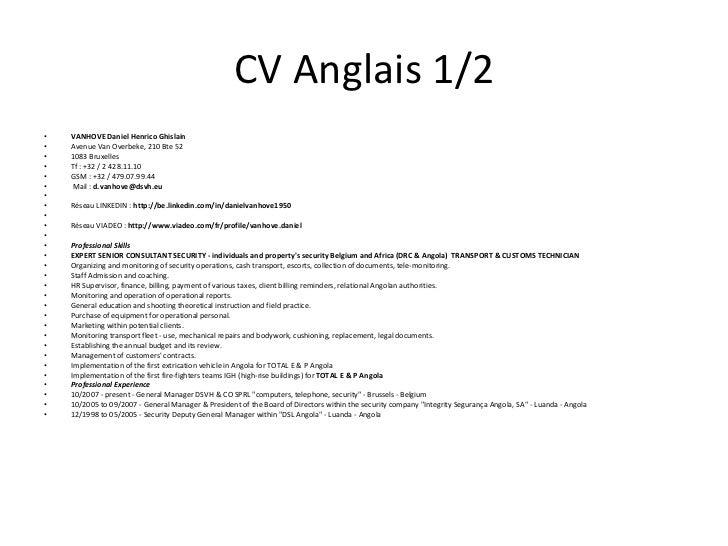 cv anglais