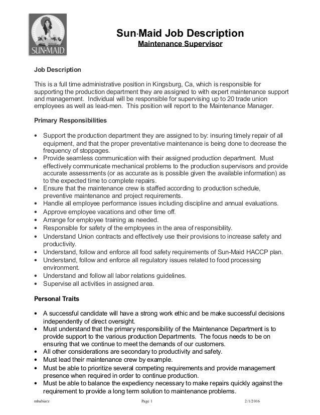 Sun·Maid Job Description Maintenance Supervisor Job Description This Is A  Full Time Administrative Position ...