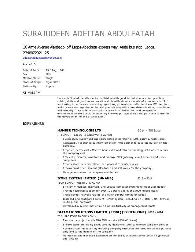 ade cv resume