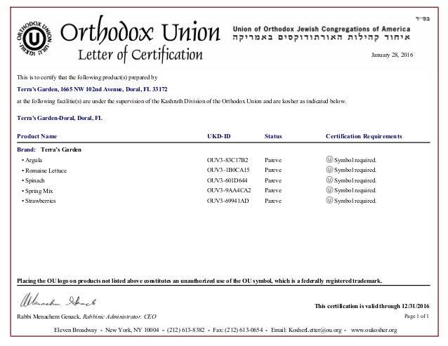 Orthodox Union Kosher Certificate