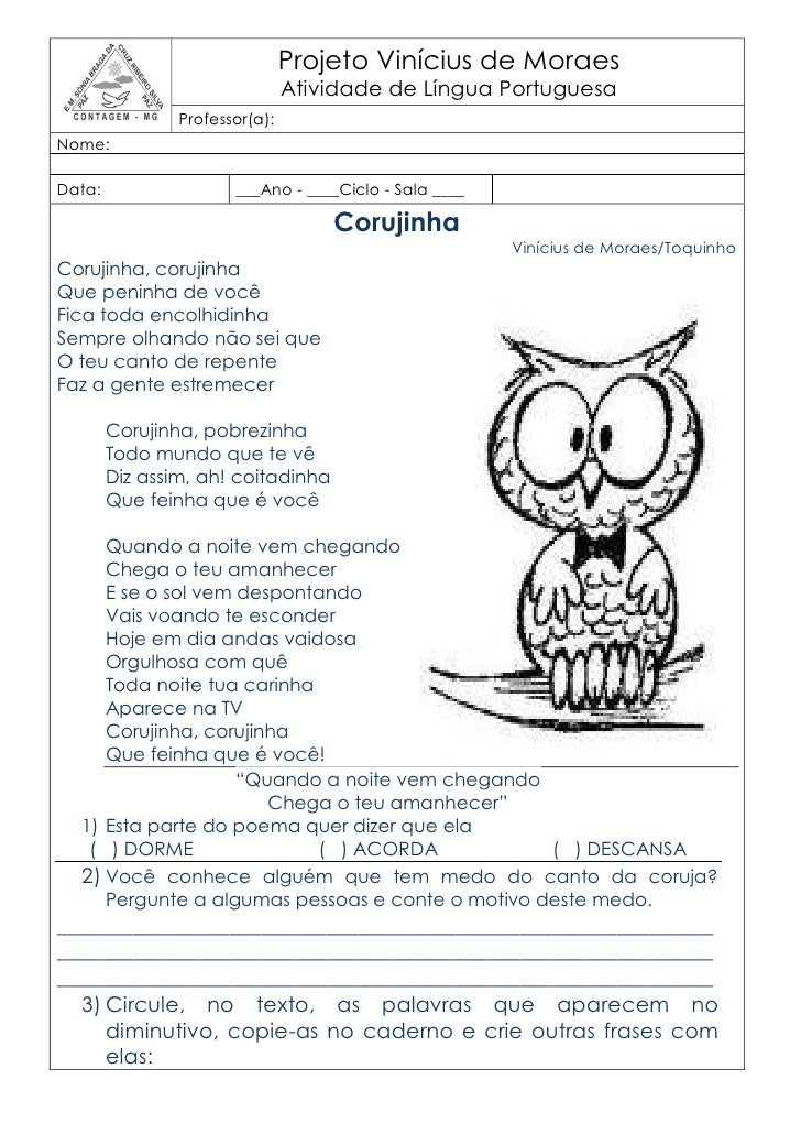 Projeto Vinícius de Moraes                                Atividade de Língua Portuguesa                Professor(a):Nome:...