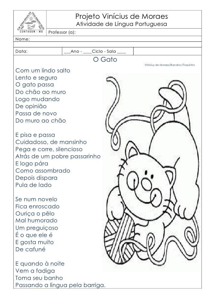 Projeto Vinícius de Moraes                            Atividade de Língua Portuguesa           Professor (a):Nome:Data:   ...