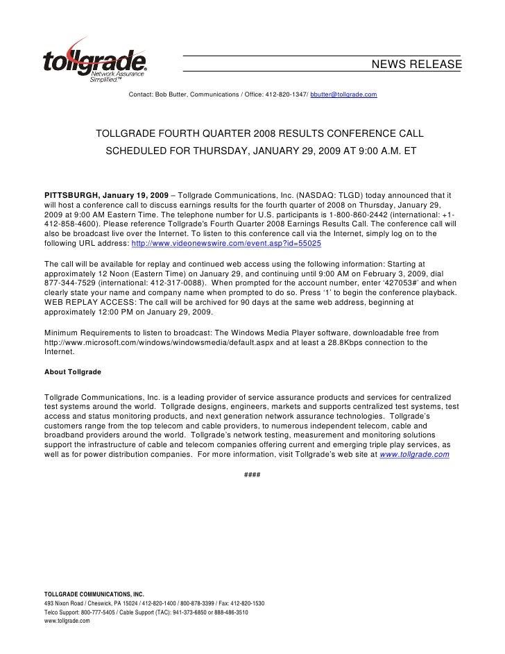 NEWS RELEASE                                  Contact: Bob Butter, Communications / Office: 412-820-1347/ bbutter@tollgrad...