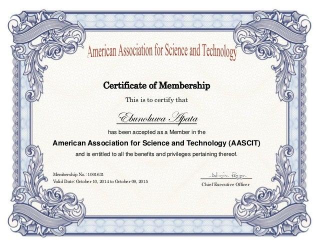 AASCIT Membership Certificate