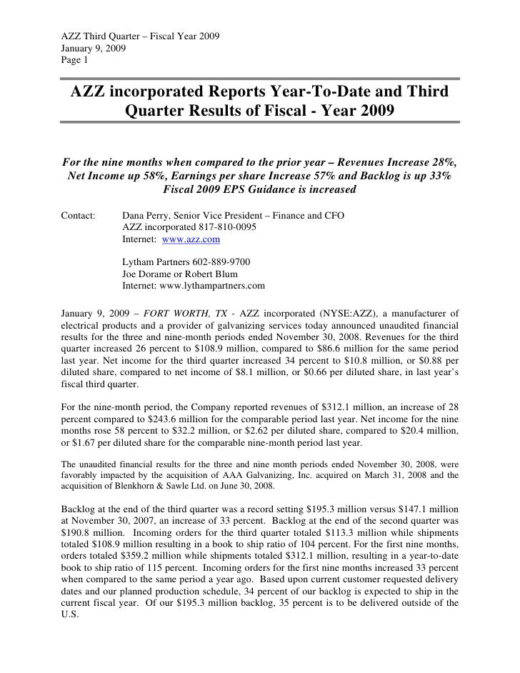AZZ Third Quarter – Fiscal Year 2009 January 9, 2009 Page 1     AZZ incorporated Reports Year-To-Date and Third         Qu...