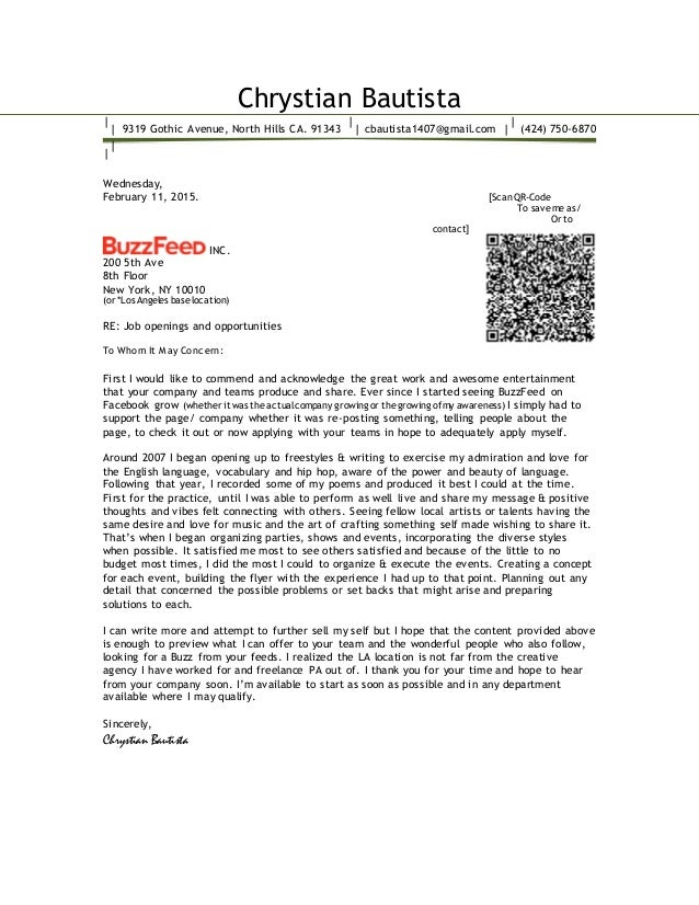 Chrystian Bautista Cover Letter 2015 Buzzfeed