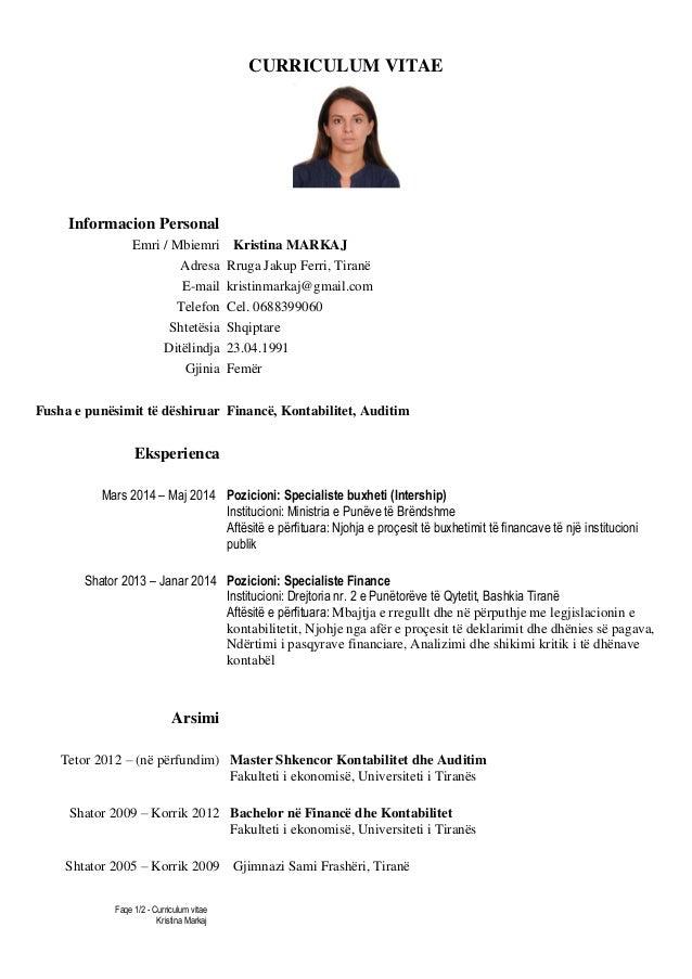 curriculum vitae shqip online