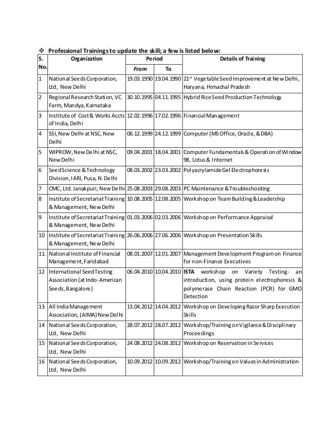  Professional Trainings to update the skill; a few is listed below: S. No. Organization Period Details of Training From T...