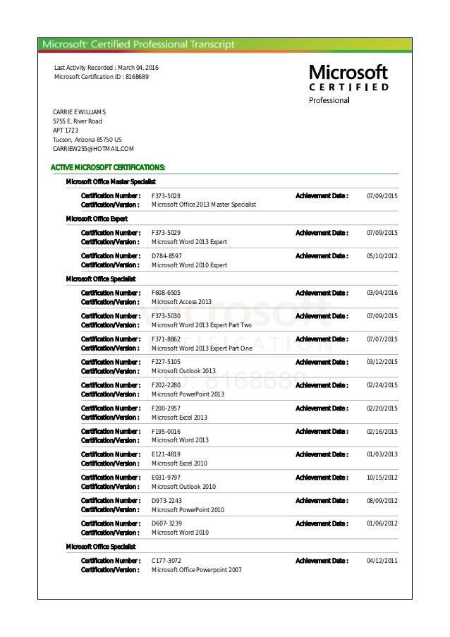 Last Activity Recorded : March 04, 2016 Microsoft Certification ID : 8168689 CARRIE E WILLIAMS 5755 E. River Road APT 1723...