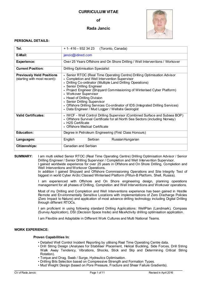 CV of Rada Jancic (Revised in April 2016)