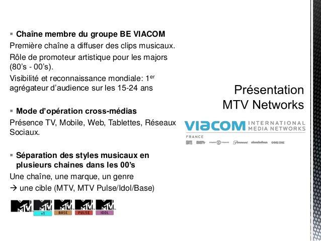  Chaîne membre du groupe BE VIACOM Première chaîne a diffuser des clips musicaux. Rôle de promoteur artistique pour les m...