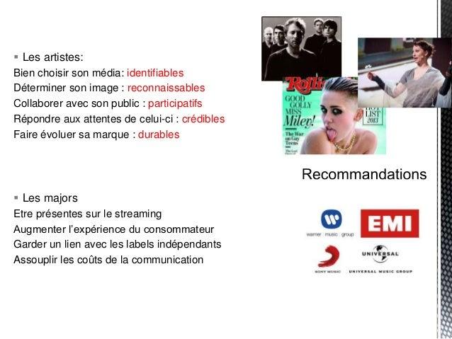  Les artistes: Bien choisir son média: identifiables Déterminer son image : reconnaissables Collaborer avec son public : ...