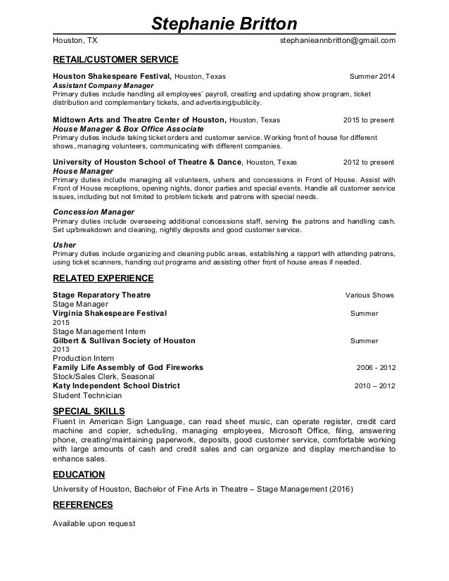 Steph FOH Resume No Reference