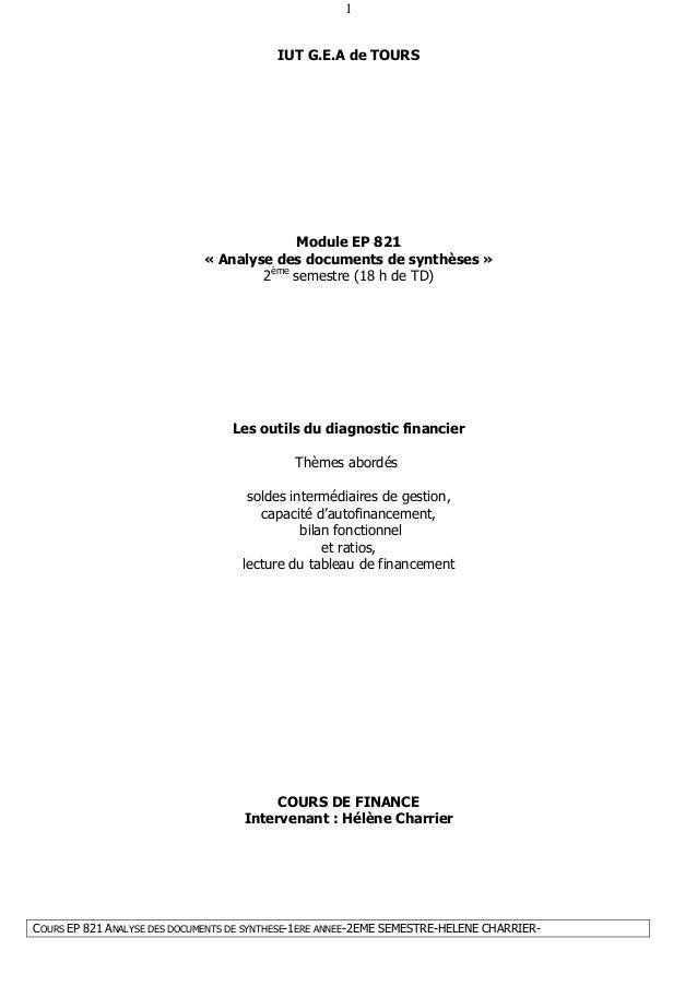 COURS EP 821 ANALYSE DES DOCUMENTS DE SYNTHESE-1ERE ANNEE-2EME SEMESTRE-HELENE CHARRIER- 1 IUT G.E.A de TOURS Module EP 82...