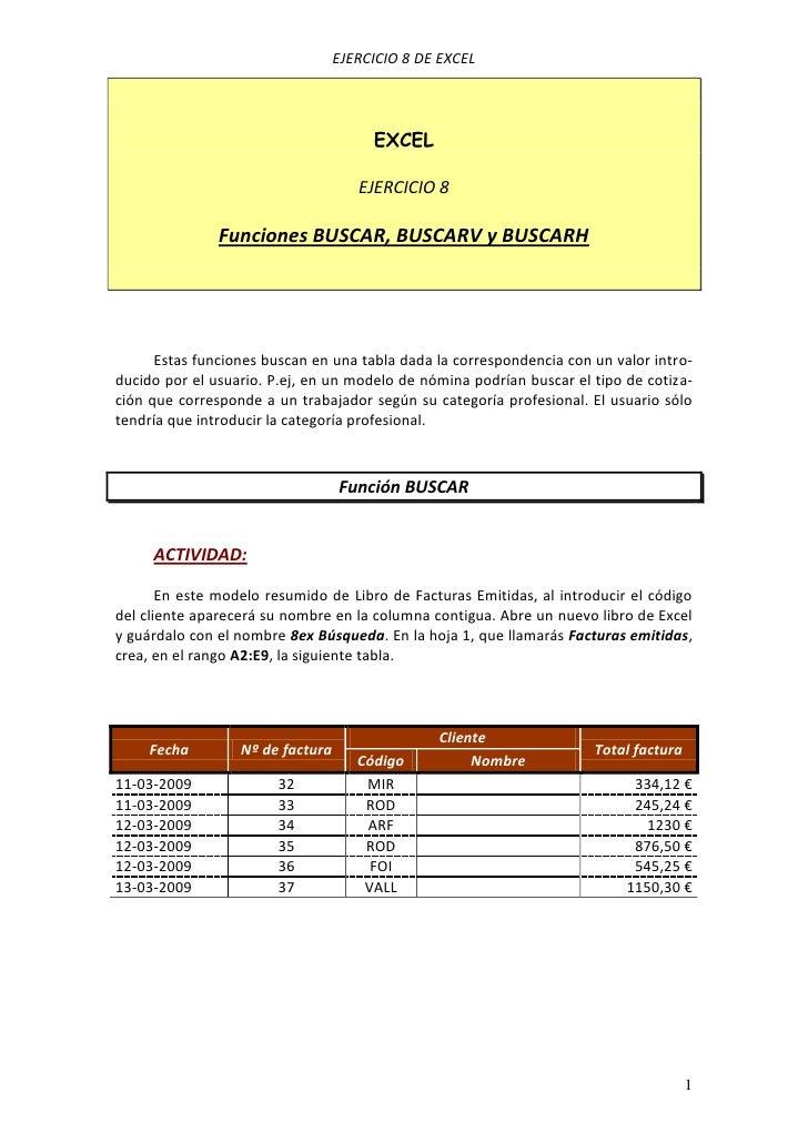 EJERCICIO 8 DE EXCEL                                       EXCEL                                     EJERCICIO 8          ...