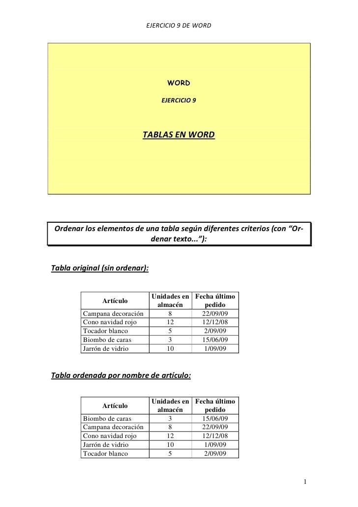 EJERCICIO 9 DE WORD                                    WORD                                  EJERCICIO 9                  ...