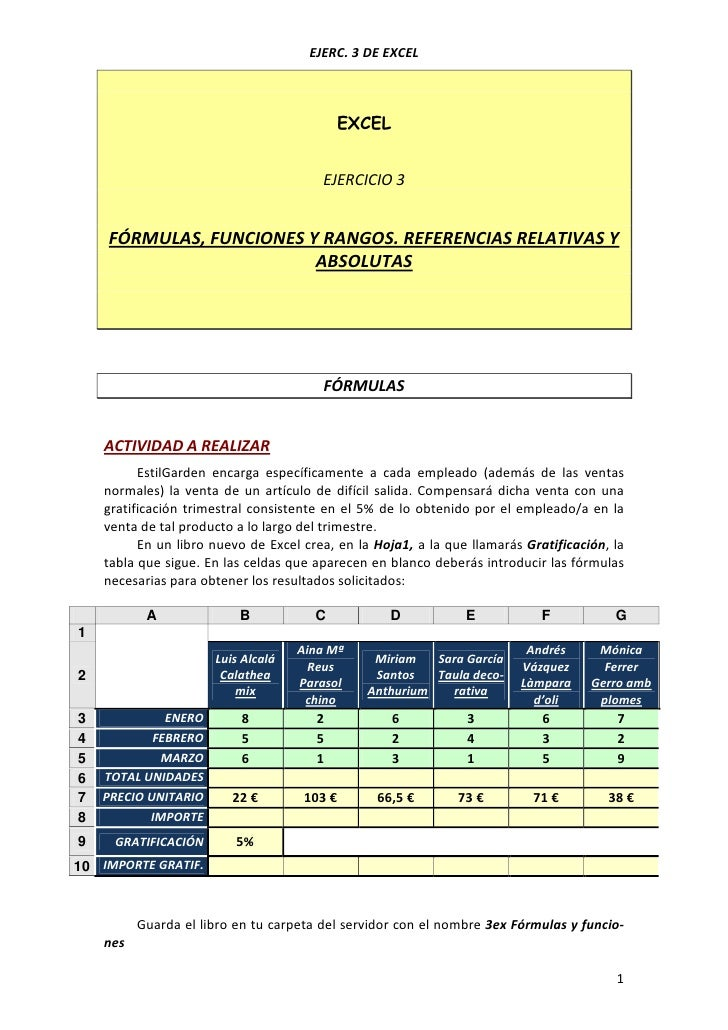 EJERC. 3 DE EXCEL                                           EXCEL                                        EJERCICIO 3    FÓ...