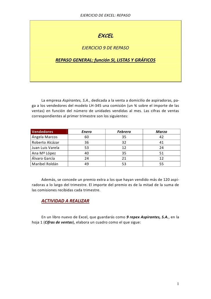 EJERCICIO DE EXCEL: REPASO                                      EXCEL                             EJERCICIO 9 DE REPASO   ...