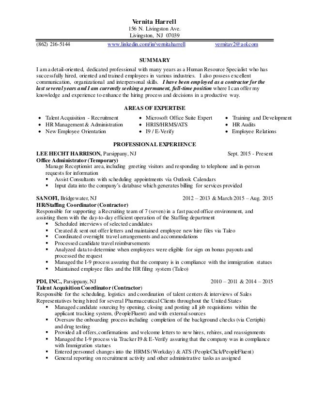 Vernita S Updated Resume Recruiter Experience