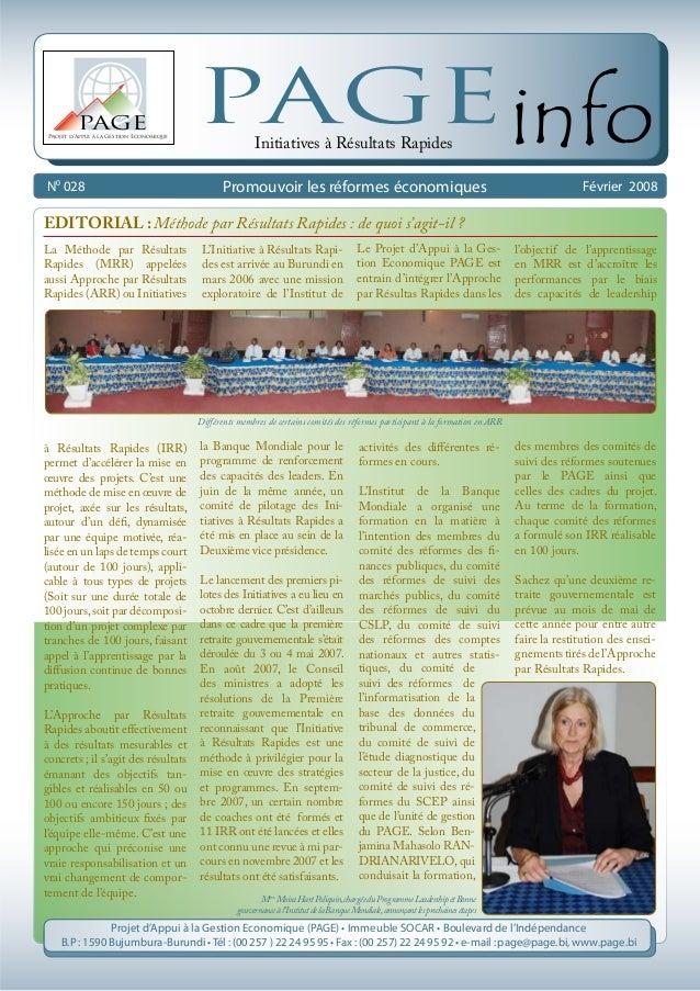 N0 028 Février 2008 Projet d'Appui à la Gestion Economique PAGE PAGEinfo Promouvoir les réformes économiques Initiatives à...