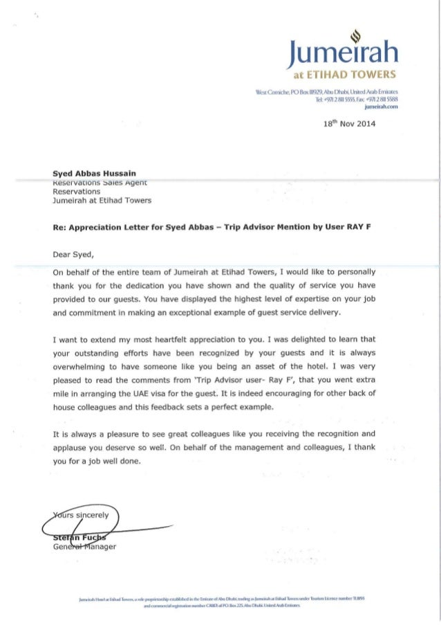 Letter from JAD Managment Team