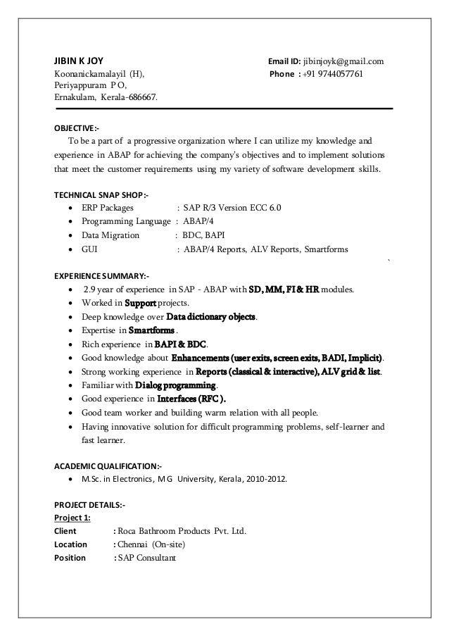 Jibin SAP ABAP Consultant