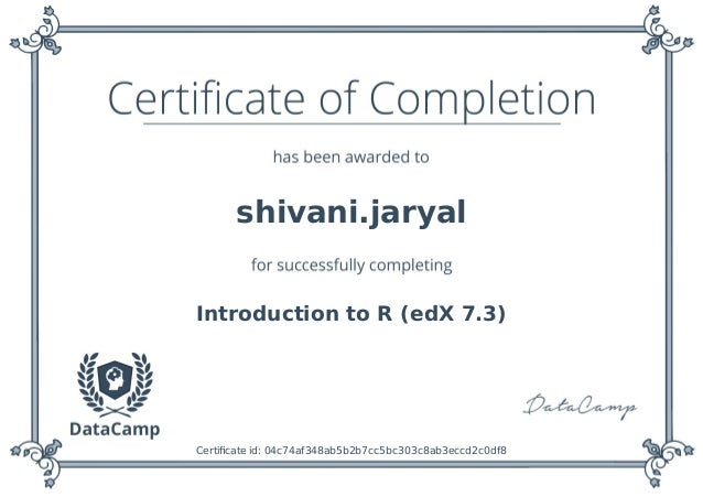 Data Camp R programming certificate
